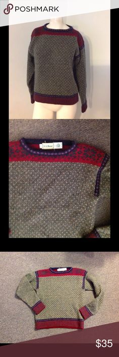 "Vintage L.L. Bean Nordic Wool Sweater S M Very pretty LL Bean sweater. Nordic style dark green with purple and reddish trim. 100% pure wool in size Medium. Great condition. Color is most like the first pic. Chest Almost 19"" across - Length 22"" Vintage Sweaters"