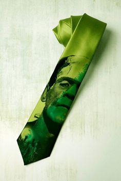 Frankenstein on mens tie Green gothic necktie inspired by tiestory