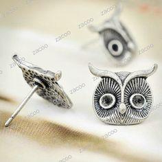 10 tibetan silver owl head earring stud/pins (CUTE)