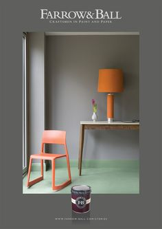 med cab orange, floor paint, trim dark glossy???  Mole's Breath Dining Room - Farrow & Ball
