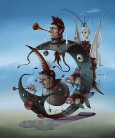Surrealist Hans Kanters exposeert in Van der Togt Museum Surrealism Painting, Pop Surrealism, Fantasy Kunst, Fantasy Art, Surealism Art, Art Basics, Surreal Art, Oeuvre D'art, Les Oeuvres