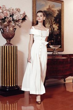 Alessandra Rich RTW 2015 - Maxi White Dress Buttonned in Front + belt