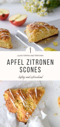 Saftige und erfrischende APFEL ZITRONEN SCONES Apple Lemon Scones Recipe for simple and quick English scones with apple and lemon, for breakfast on the go or for tea. Juicy and easy with fresh apples and organic lemon peel # apples popular recipe Apple Scones, Lemon Scones, Apple Recipes, Baby Food Recipes, Cake Recipes, Lemon Recipes, English Scones, Breakfast On The Go, Fresh Apples
