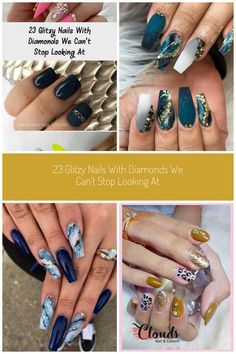 French Ombre Coffin Nails with Rhinestones nails 23 Glitzy Nails With Diamonds We Can't Stop Looking At - Beauty Nail Art Rhinestones, Rhinestone Nails, Coffin Nails Glitter, Acrylic Nails, Crystal Texture, Nail Patterns, Diamond Nails, Nail Art Designs, Diamonds