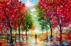 Abstract Art Painting Couple in Nature