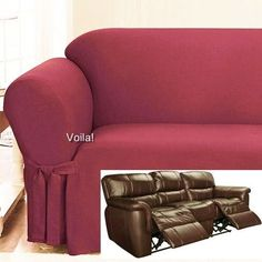 Etonnant Reclining SOFA Slipcover Ribbed Texture Spice Red Sure Fit Couch Cover