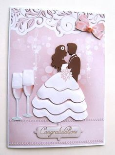 Blushing Bride on Craftsuprint designed by Marie Wolman - made by Margaret Scott - Printed onto decoupage paper and cut out. Placed the main image onto a white A5 card with tape and then added the layers using foam pads. I added a large pearl to the bow. - Now available for download!