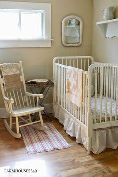 FARMHOUSE 5540, LOVE this neutral girl farmhouse/vintage nursery