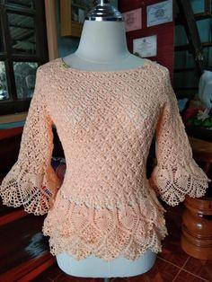 Vintage Beige Crochet Sweater Hand Made Crochet Flowers Crochet Cardigan Pattern, Crochet Jacket, Crochet Blouse, Knit Crochet, Crochet Patterns, Crochet T Shirts, Crochet Clothes, Japanese Crochet, Crochet Videos