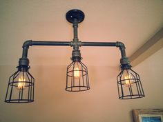 Hanging Industrial Pipe Light With 3 Edison Bulbs by DesertandIron
