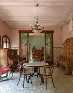 Pink living room in Casa Navàs, a modernist building in the city of Reus, Catalonia, Spain designed by Catalan architect Lluís Domènech i Montaner