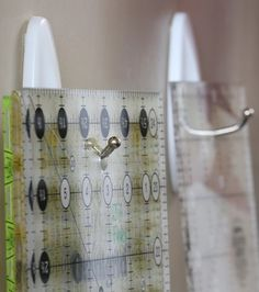 Quilting organization tip: use Command Hooks to safely store acrylic rulers and templates within easy reach.