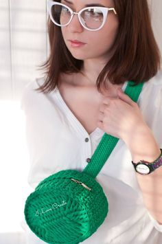 Green belt bag women Waist T-shirt yarn bag Fanny pack Eco friendly hip bag Crochet accessories Boho waist bag Crochet purse Crochet Belt, Crochet Purse Patterns, Crochet Shell Stitch, Crochet Cross, Crochet Yarn, Crochet Stitches, Knitting Patterns, Crochet Handbags, Crochet Purses