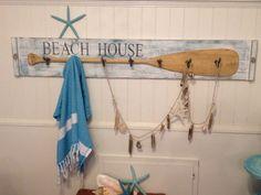 Beach House Oar Paddle Hook Coat Rack Sign Beach by CastawaysHall