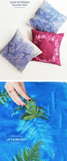 Leaf print pillows These look so wicked. Fabric Painting, Fabric Art, Fabric Crafts, Shibori, Diy Projects To Try, Sewing Projects, Craft Projects, Do It Yourself Decoration, Diy And Crafts