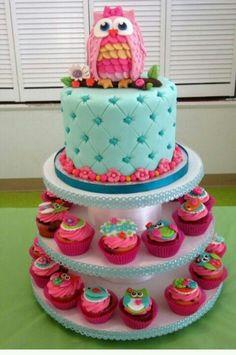 Owl shower theme cake.