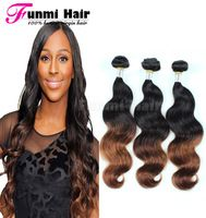 7A Brazilian Virgin Hair Body Wave Ombre Brazilian Hair Two Tone Color 3Pcs Lot 100%Unprocessed Virgin Brazilian Remy Human Hair