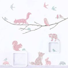 I've just found Woodland Animals On Branch Wall Sticker~ Vintage Floral. Create a forest scene in your little one's room with these woodland animal wall stickers in vintage floral patterns. Wall Stickers Girl Nursery, Wall Stickers Vintage, Wall Decals, Polka Dot Walls, Washable Paint, Star Wall, Girl Decor, Room Themes, Woodland Animals