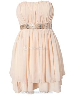 Empire Strapless Short/Mini Chiffon Party Dress With Beading