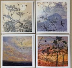Artist Card, Square Card, Swallows, Spring Is Here, Landscape Photos, Swift, Printmaking, Countryside, Original Paintings