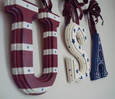 Hand Painted USA wooden hanging letters.  $26.00