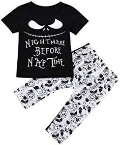 d70db1b98 Hatoys Halloween Outfits Set Infant Baby Boys Girls Letter T-Shirts Tops Pants  Sets