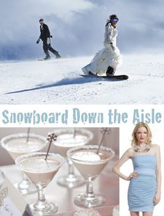 snowboard down the aisle blog post http://nicolerenedesign.blogspot.com/2011/11/wedding-15-snowboard-down-aisle.html