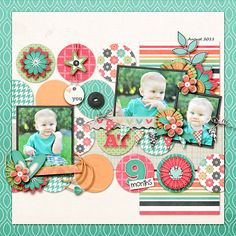 #papercrafting #scrapbook #layout -  Circle background, cute idea to use up scraps