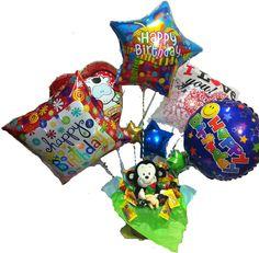 Air Magic  5 globos decorados en una canasta con dulces y un peluche!  El regalo ideal y original para encantar!  www.kokoro3.com  Entrega incluída al D.F.