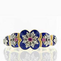Victorian Cobalt Blue Enamel and Ruby Plaque Bracelet