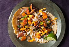 Roasted Sweet Potato and Black Bean Tacos. These are SO AWESOME!!!