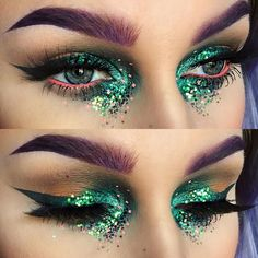 Glittery Green and Coral Eye Makeup
