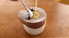Molten Chocolate Souffle filled with creme anglaise Chocolate Maltado, Chocolate Souffle, Creme Anglaise Recipe, Souffle Recipes, Frozen Custard, Sous Vide, Sweet Tooth, Sweet Treats, Dessert Recipes