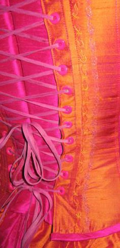 Corset Detail Pink And Orange Color Bright Yellow