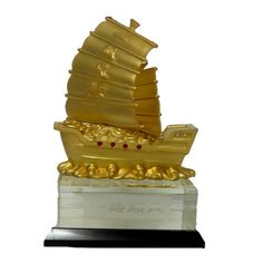 Barco de la Abundancia sobre base de cristal