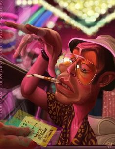 Fear and loathing in Las Vegas Hunter Thompson, Vegas Tattoo, Marijuana Art, Fear And Loathing, Dope Art, Psychedelic Art, Johnny Depp, Good Movies, Fantasy