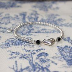 Sterling Silver Black Onyx  Kinsey Heart Beaded by LitaKinsey, $40.00