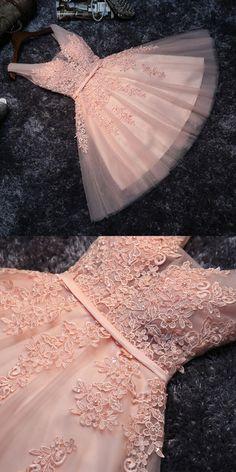 Princess Lace Appliqued Tulle Homecoming Dress,Blush Pink Short Bridesmaid Dresses,Short Prom Dress,Sweet 16 Cocktail Dress,Homecoming Dress,S34
