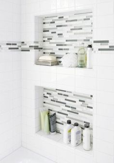 Bathroom Renovation Ideas: bathroom remodel cost, bathroom ideas for small bathrooms, small bathroom design ideas Bathroom Renos, Bathroom Renovations, Small Bathroom, Home Remodeling, Bathroom Ideas, Accent Tile Bathroom, White Subway Tile Bathroom, Bathroom Niche, Bathroom Gray