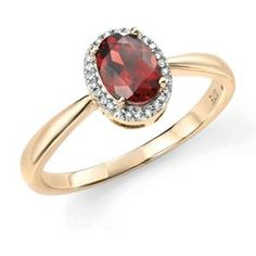 7cf2c976974530 9ct Yellow Gold Garnet & Diamond Ring 9Y515GR. Fox JewelryGold ...