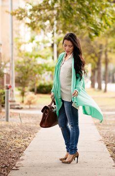 cute & little blog | petite fashion | les lunes wrap mint cardigan, white polka dot button shirt, ag maternity jeans, leopard pumps | maternity baby bump pregnant | third trimester 28 weeks
