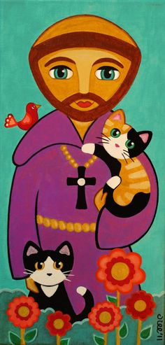 Saint FRANCIS of Assisi and CATS Art PRINT from por thatsmycat