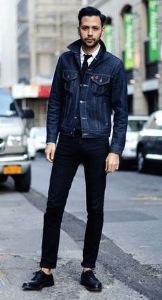 デニムジャケットをテーラードジャケットのように着こなし