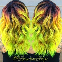 Neon yellow and lime green hair color by Savannah Harris Neon Green Hair, Green Hair Colors, Neon Hair, Yellow Hair, Cool Hair Color, Neon Yellow, Ombre Green, Blue Hair, Bright Hair Colors