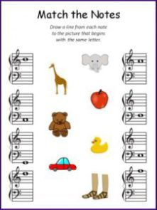 Match the Music Notes to the Pictures, Music Theory Note Reading Worksheet