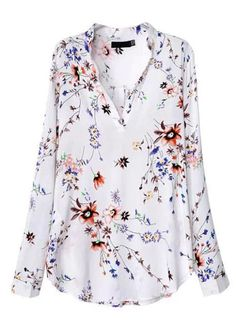 Causal V Neck Print Design Long Sleeve T Shirt   Rosewe.com