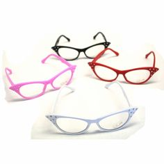 These cat eye glasses are a great costume accessory for your tea party, also great for a 50s retro party.  Coming in 4 great colors, pink, black, red, and white each with fun gems on the corner of the glasses.  The cat eye glasses have a clear lens and are a fun costume accessory for any 50s theme retro party.  Dress up as a nerd or a sock hop girl with these fun cat eye glasses.  The cat eye glasses have a clear lens so they will look like authentic glasses when you wear them.  Each pair of cateye glasses measures 6 inches across the face and 5 1/4 inches from temple to ear.
