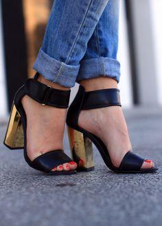 Steve Madden heels! #blackandgold #blockheels #heels