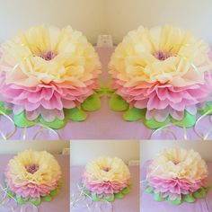 Large 2 x balloon weightstable centrepieces and image 3 Tissue Paper Crafts, Large Paper Flowers, Tissue Paper Flowers, Balloon Centerpieces Wedding, Balloon Decorations, Wedding Tissues, Pom Pom Flowers, Large Balloons, Craft Party