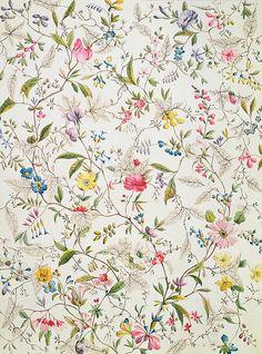 William kilburn: wild flowers design for silk material, fabric wallpaper, liberty Art Floral, Motif Floral, Floral Prints, Art Prints, Lino Prints, Block Prints, Floral Design, Colorfull Wallpaper, Trendy Wallpaper